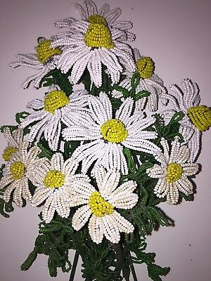 """12 Vintage Handmade French Beaded Flowers DAISY BOUQUET Daisies 5-9"""" Glass beads"""