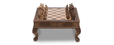 Royal Wooden Chess Set - Walnut Wood Carving, India - Shipping via DHL or FedEx