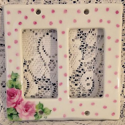 Dbl Switch Plate Cover Porcelain  Hand Painted Pink Roses Polka Dots FREE SHIP