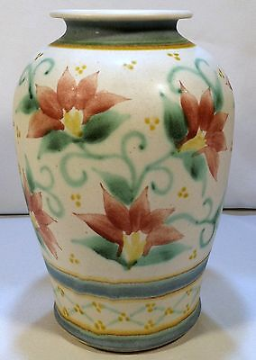"""Pottery Studio Art Hand Made Floral Vase Artist Signed 9 1/4"""" Tall"""