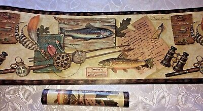 """New Wallpaper Border Trout Fish Fly Fishing Lures Rod Reel 2 Rolls 10 Yds 9"""" W"""
