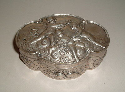 Antique Continental French Austrian Sterling Silver Cherubs Box Putti 19Th Cent.