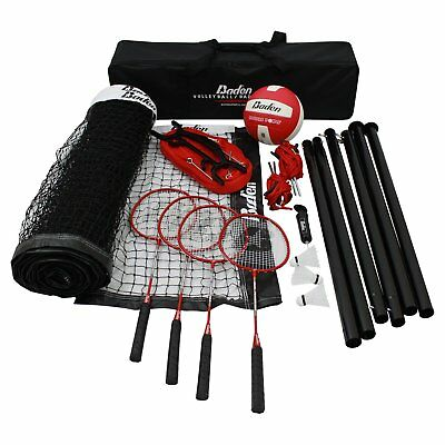 Baden Champions Volleyball Badminton Set Red 32L x 3H ft.