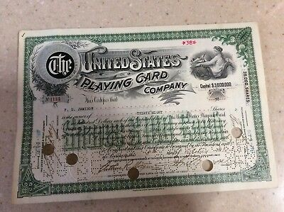 1917 Rare Stock Certificate The United States Playing Card Company No Reserve