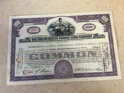 1936 Rare Stock Certificate The United States Playing Card Company No Reserve