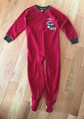 Carter's Red 1-Piece Footed Pajamas Sleepers Moose Applique Sz 5T Christmas
