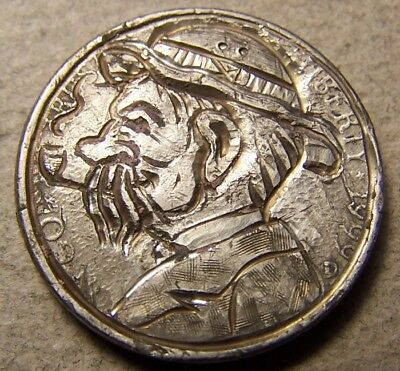 "Classy Hand Carved Original Hobo Nickel, Coin Art, ""Jerry & Harry .."""