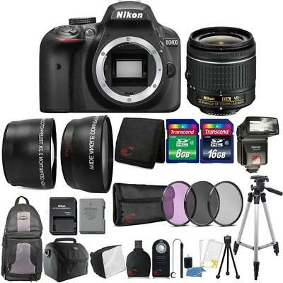 Nikon D3400 24.2MP DSLR Camera 18-55mm Lens + TTL Flash with Backpack and More