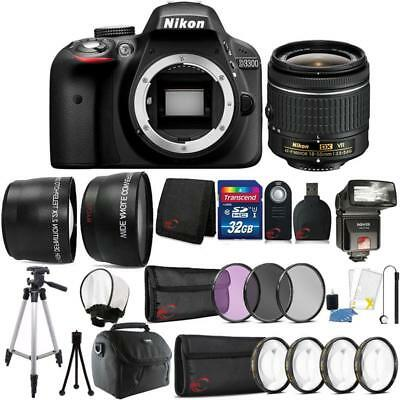 Nikon D3400 24.2MP DSLR Camera 18-55mm Lens + TTL Flash and Accessory Bundle