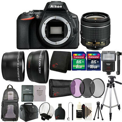 Nikon D5600 24.2MP DSLR Camera 18-55mm Lens + Zoom Flash +  Accessory Bundle