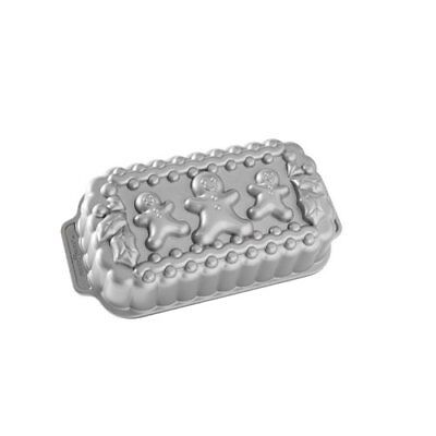 Nordic Ware Gingerbread Family Loaf Pan, Metallic, New