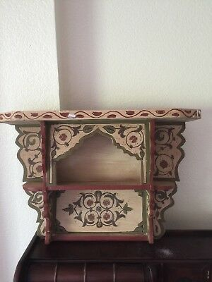 Wall Shelf Vintage Reproduction Handpainted Moroccan Wood