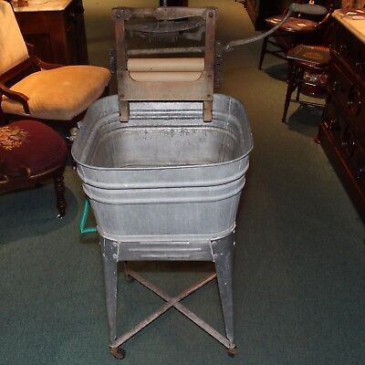 Vintage Galvanized Single Wash Tub With Stand and Good Idea Hand Crank Wringer