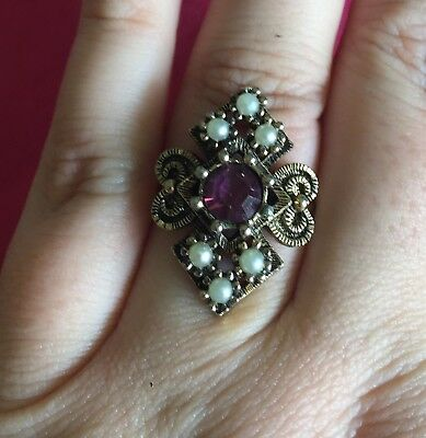 Vintage Antique Gold Purple Stone Crystal Gumball Ring Adjustable Size Retro