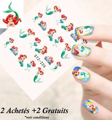 ❤️nouveau 20 Stickers Disney La Petite Sirene Bijoux Ongles Water Decal Nail Art