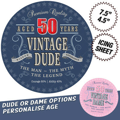 Vintage Dude Dame Birthday Cake Topper Edible Icing Personalise Age