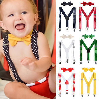 Toddler Baby Boy Birthday Photo Shoot Props Bowtie Suspenders Outfits Clothes