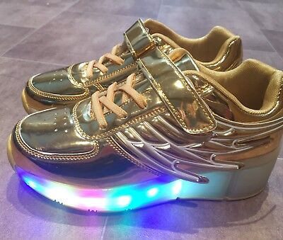Bargain Light Up Shoes With Wheels (similar to Heelys) In Gold Size 4