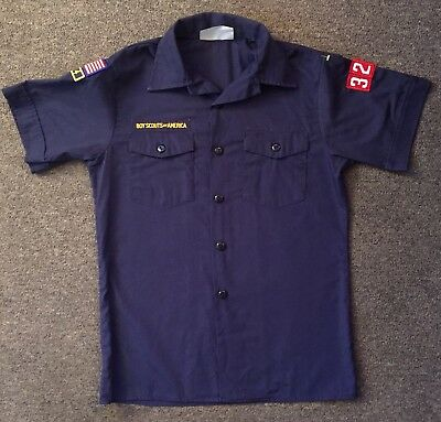 Boy Scout Shirt Blue Youth Large Used Made In USA