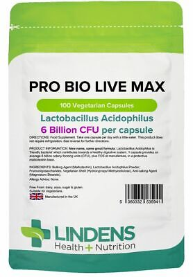 PROBIOTIC MAX 6 Billion CFU Veg Capsule 100 Acidophilius HIGH Potency Probiotics
