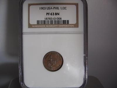 1903 Proof Usa Phil (Rare In Proof) 1/2 Cent Proof 63 Bn