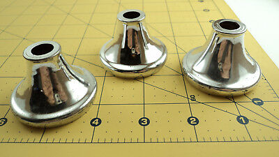 "3 Vintage chrome plated steel cap neck cup lamp light chandelier part ""D"""