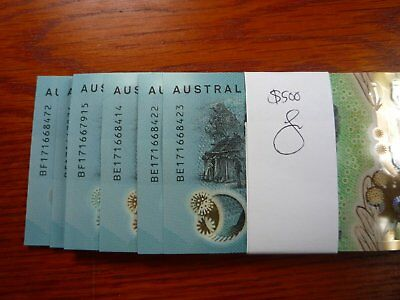 AUSTRALIA 2017 NEW $10 BANK NOTES $500 face val UNC-REGISTERED POST from RBA SYD