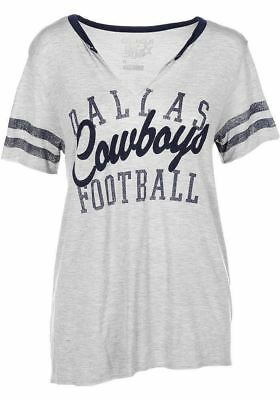 a631fc27d2 DALLAS COWBOYS T-SHIRT Women s Tee NFL Bennett Slit Gray DCM ...
