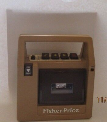 Vintage 1980s Fisher Price #826 Brown Portable Cassette Tape Recorder Player