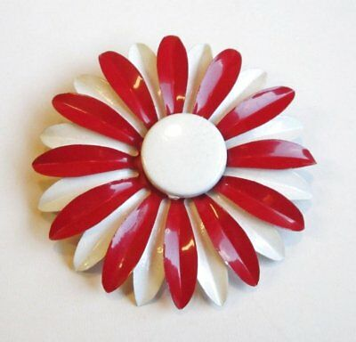 VTG Brooch Pin Tiered Flower Art Deco Enamel Ruby Red White Runway WOW! 40
