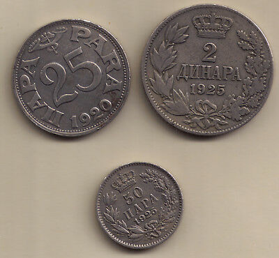 Kingdom of Serbs, Croats and Slovenes (1921 - 1929) - 2 Coins near extremly fine