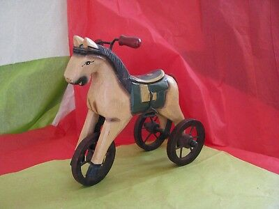 Vintage Style Wood Victorian Tricycle Horse Miniature Home Decor Christmas EUC