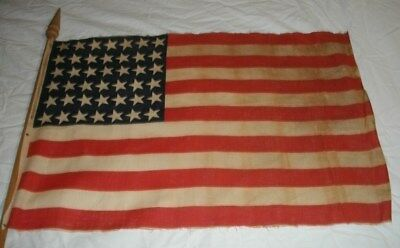 1889-1890 Antique Us 42 Star American United States Flag Wood Pole - Gar