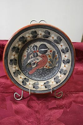 """Antique gray slip ware 9"""" plate with wall hanger"""