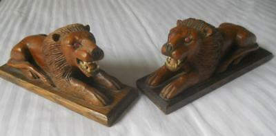 Fabulous Pair Vintage Hand Carved Wood African Lions
