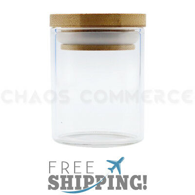 Premium Glass Stash Storage Herb Spice Jar with Pop Top Bamboo Lid – 2.5 oz