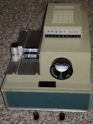 """Argus 500 Automatic Slide Projector with F 3.3 4"""" Projection Lens Model 58 Works"""