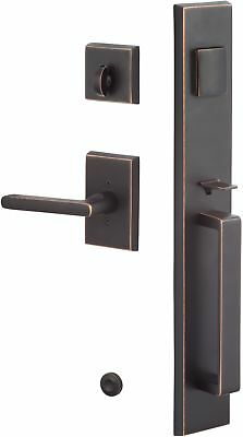 Front Door Handleset Oil Rubbed Bronze Home Entry Knob Lever Dead Bolt Lock Set
