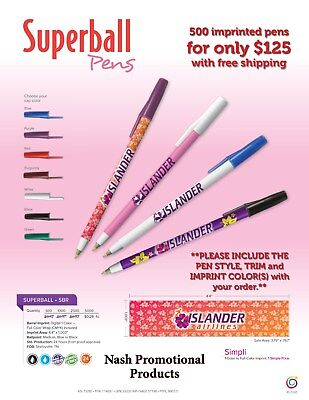 Imprinted Promotional Ink Pens 500, Ships in 2-4 days after proof approval.