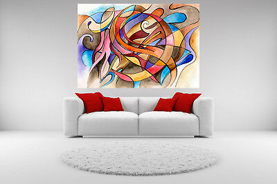 Abstract Canvas Giclee Print Picture Shapes Unframed Home Decor Fine Wall Art