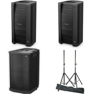 Bose F1 Speaker Pack w/ 2x 812 Speakers, 1x Sub, Plus PA Speakers Stands in Bag