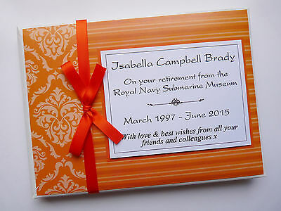 Personalised Orange Retirement/wedding/gift Guest Book - Any Colour