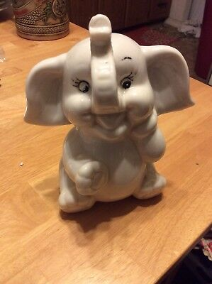K's Collection White Ceramic Elephant Coin Bank