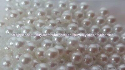 US SELLER WHITE 10pcs lot -4mm faux PEARL Shiny round  FLOATING LOCKET CHARMS