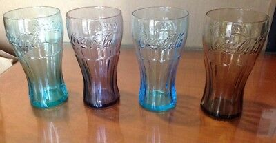 NEW McDonalds 2011 Coca Cola Glasses Set Of 4 Smoked,Green,Purple,Light Blue New