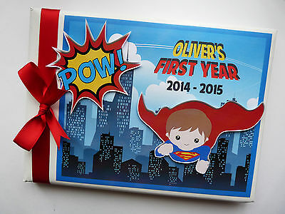 Personalised Super Boy/superman Boys First/1St Birthday Guest Book Any Design