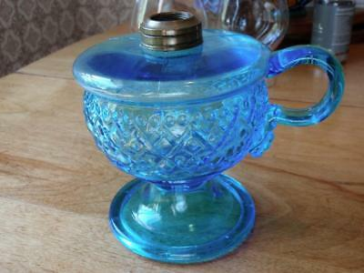 1870's Blue Beaded Diamond Band Footed Finger Lamp.