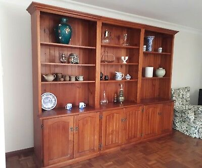Hamptons style 3 bay wall library bookcase