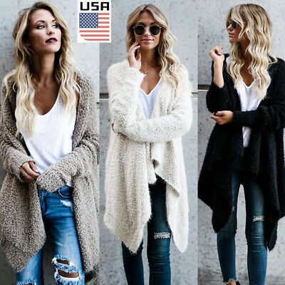 US STOCK Women's Long Oversized Loose Knitted Sweater Cardigan Outwear Coat New