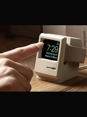 Elago W3 Stand White Vintage Apple Monitor Apple Watch Charging Station NEW